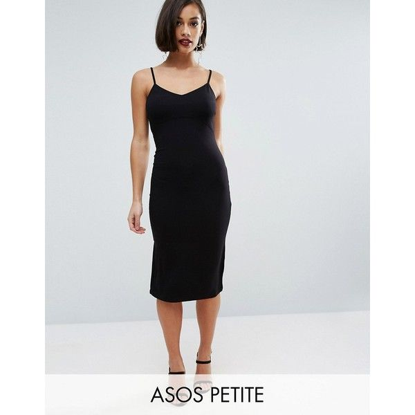 ASOS PETITE Midi Cami Bodycon Dress ($18) ❤ liked on Polyvore featuring dresses, black, petite, petite midi dress, midi dress, body con dresses, petite dresses and strappy cami