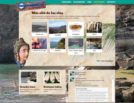 sitio web de olas permanentes, página de actividades. 2014. ®raquel marón estudio creativo www.olaspermanentes.com