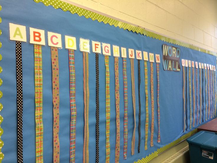 Ribbon Word Wall. Vocabulary words can be put up with clothes pins