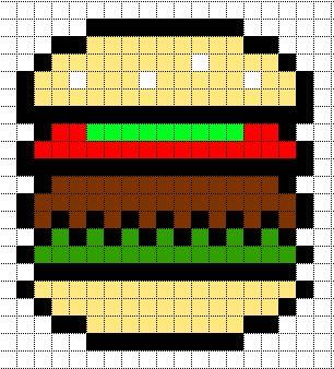 Minecraft Pixel Art Templates: HamBurger