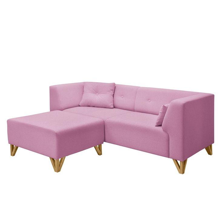 Sofa Ongar I (2 Sitzer) Webstoff   Mit Hocker   Rosa, Morteens