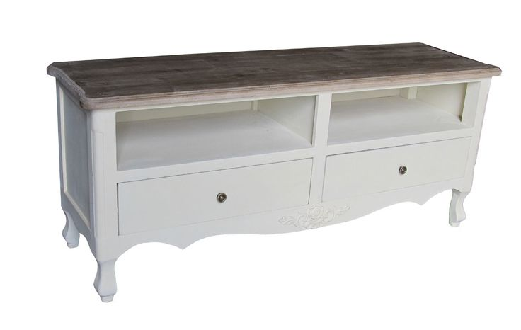 Shabby Chic Cream Television TV Stand Cabinet Table Rustic