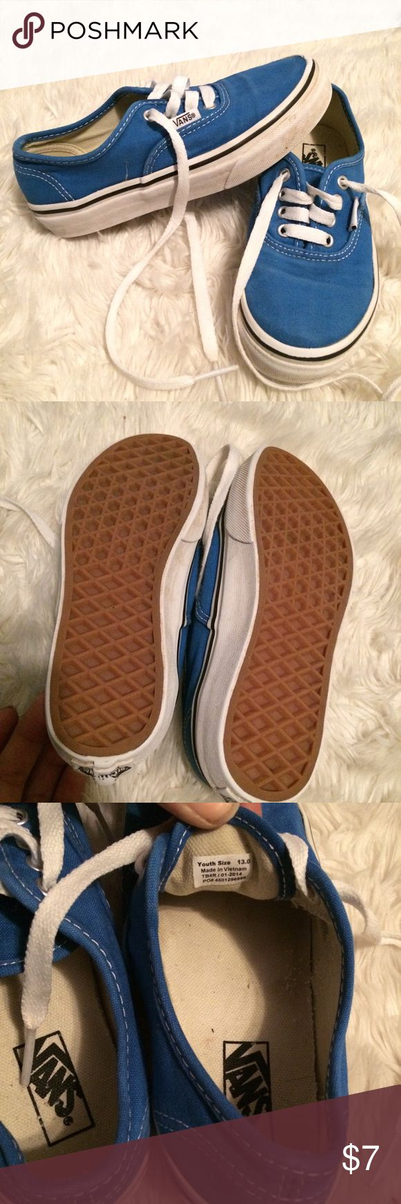 Kids blue vans shoes size 13 Blue  vans sneaker shoes  Size 13 toddler  For boys or girls  In good used condition some marks on white trim from use has been washed and ready to ship #asis #girls #vans #shoes #sneakers #casual #basic #solid #pink Shoes Sneakers