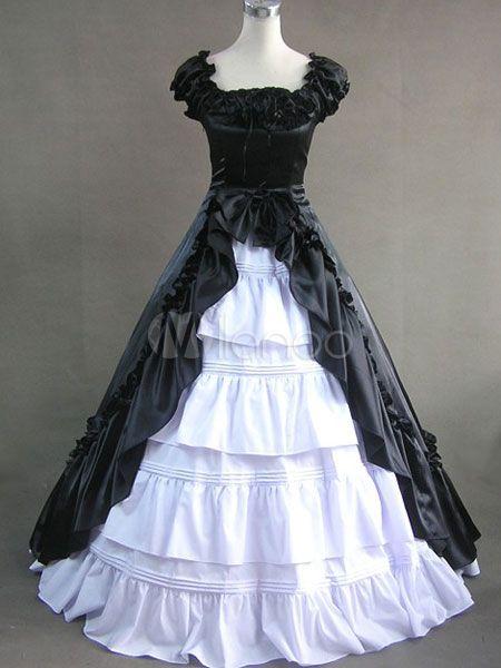 Robe de lolita classique Coton Satin Multicouches Désintégration Avant Ridée Manches Couettes Noire et Blanche - Milanoo.com