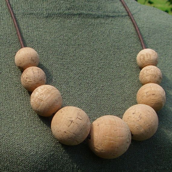 Necklace made of the most beautiful natural cork beads and