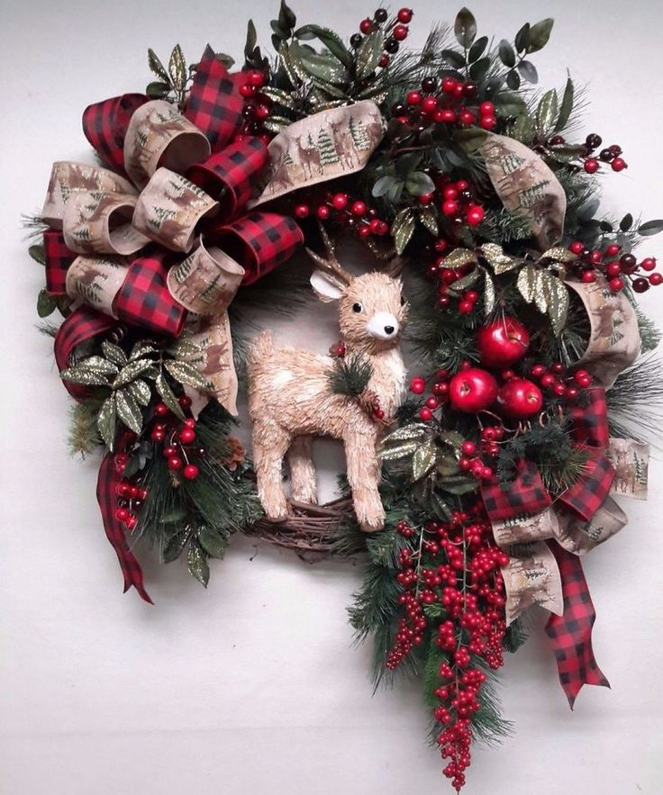 Christmas Wreath Winter Deer Berry Wreath Woodsy