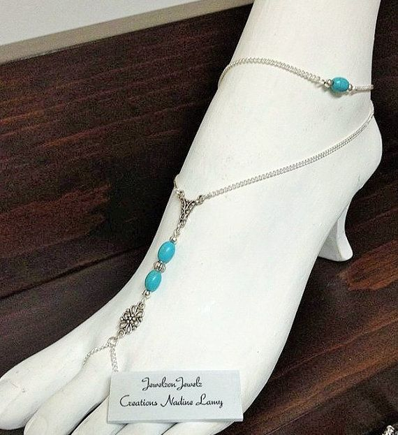 Turquoise Anklet//Foot Jewelry//Turquoise beach by JewelzonJewelz