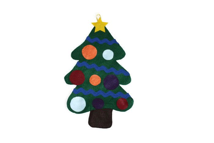 This Felt Christmas Tree is perfect for little ones to decorate again & AGAIN! The tree trunk doubles as a pouch to store the decorations in so you can take this tree to family and friend's homes while you're visiting over the holidays or keep it in your child's busy bag. Your child will enjoy the sensory play of feeling the garland made of Ric Rac Ribbon & you can practice naming the colours and teaching the concept of BIG and SMALL with your child as you decorate this tree together!