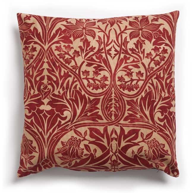 William Morris fabric cushion - red