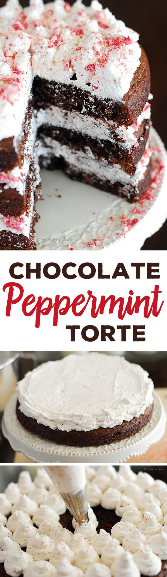 Chocolate Peppermint Torte is a delicious holiday layer cake that is perfect for Christmas parties!