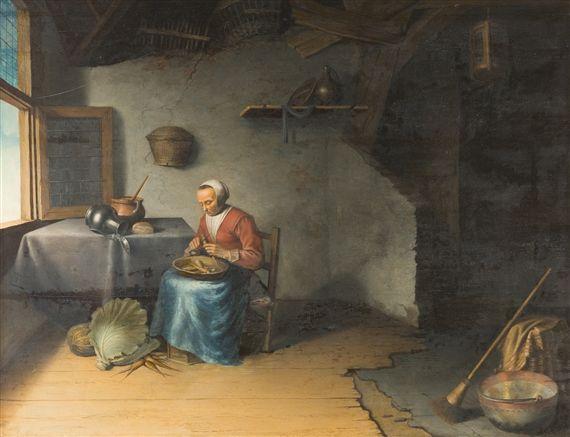 Omgeving van Gerard Dou: vrouw die wortels schrapt in een interieur. 2e helft 17e eeuw. Privé collectie. Voorheen toegeschreven aan Jacob van Spreeuwen.