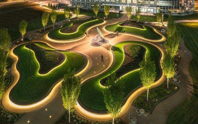 gartengestaltung led lichterketten plan bäume moderner stadtpark, Gartengestaltung