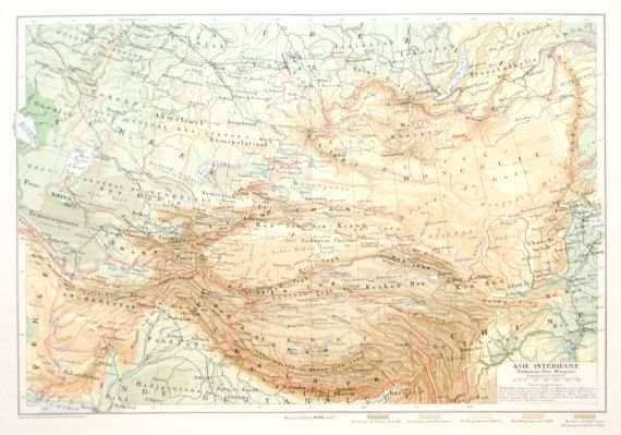 Large 1911 central Asia map print  Mongolia by PaperThesaurus