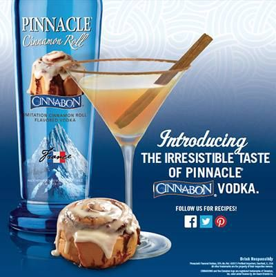 Pinnacle® Cinnamon Coffee 2 parts Pinnacle® Cinnabon® Vodka 1 part Coffee Liqueur 2 parts Half 'n Half or Nonfat Evaporated Milk Shake all ingredients with ice and pour into a double glass.