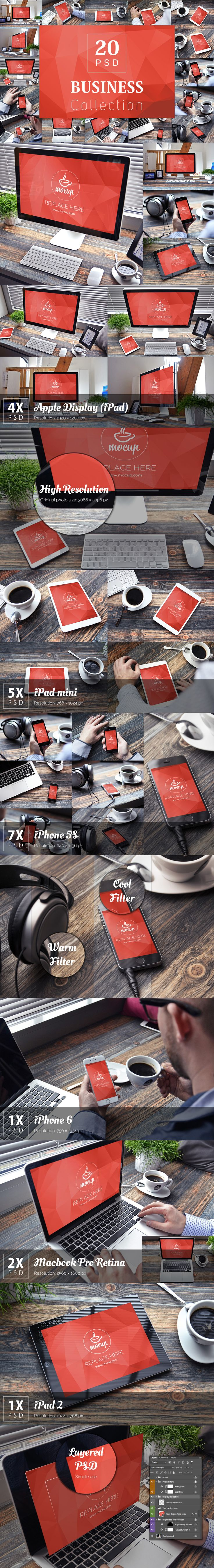 "Premium photorealistic bundle – 20 PSD Mockups of the iPhone 6, iPhone 5s, MacBook Pro Retina 13-inch, Apple Display 27-inch, iPad 2 and iPad Mini named ""Business Collection"". Just open PSD file in Photoshop and insert your design in smart object. Your design will fit in. Make your presentation look professional. Enjoy it!"