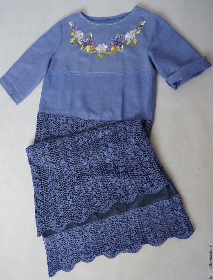 """Купить Платье лён-шёлк-хлопок """"Виолет"""" - цветочный, авторская ручная работа, ручная вышивка"""