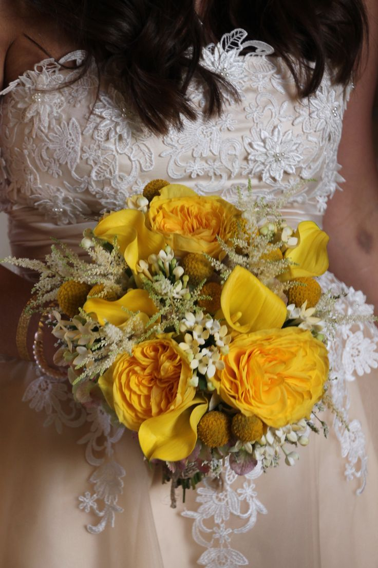 Yellow cabbage roses, yellow mini callas, hydrangea, crespedia [billy balls] & bouvardia wedding bouquet. Created by Judith Marie at Fox Bros Floral, Hartland