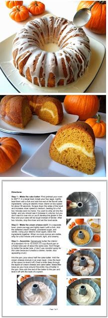 PUMPKIN-MAPLE BUNDT CAKE with SURPRISE CREAM CHEESE SWIRL: an easy, step-by-step recipe from Cleo Coyle, author of The Coffeehouse Mysteries (Click on the photo for the recipe and...eat with joy!)