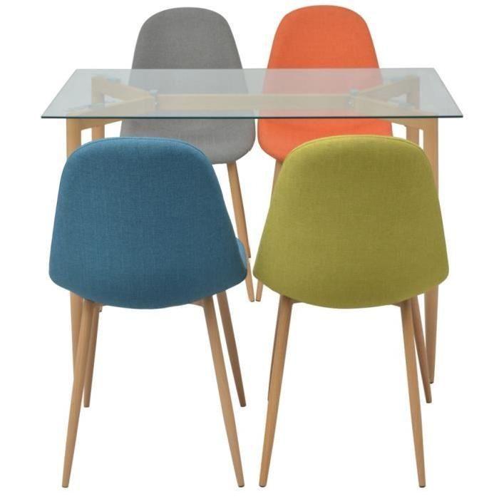 Ensemble de salle a manger cinq pieces Multicolore Couleur : Orange, gris, vert et bleu Materiau de la table : dessus de table en verre + pieds en metal avec impression en bois Materiau de la chaise : pieds metalliques avec impression en bois + tissu Dimensions de la table : 105 x 60 x 75 cm (L x l