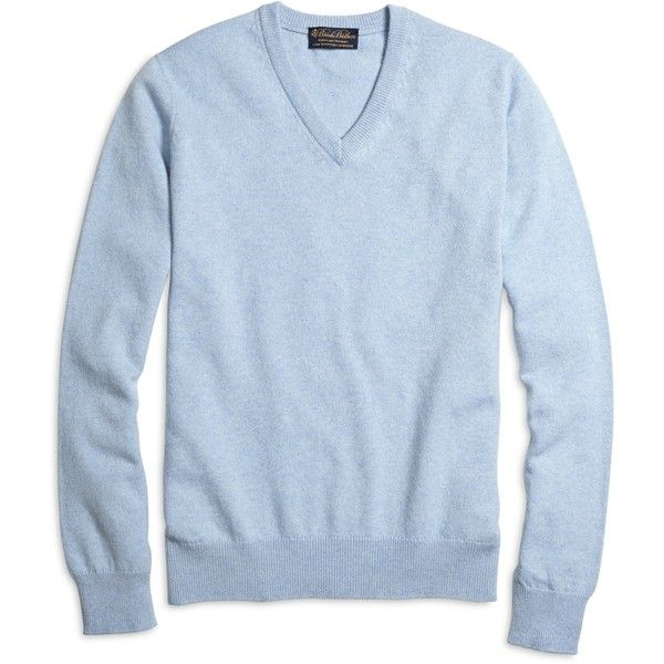 Brooks Brothers Cashmere V-Neck Sweater ($468) ❤ liked on Polyvore featuring men's fashion, men's clothing, men's sweaters, light blue, mens shawl collar sweater, mens v neck sweater, brooks brothers mens sweaters, mens cashmere sweaters and mens cashmere v neck sweater