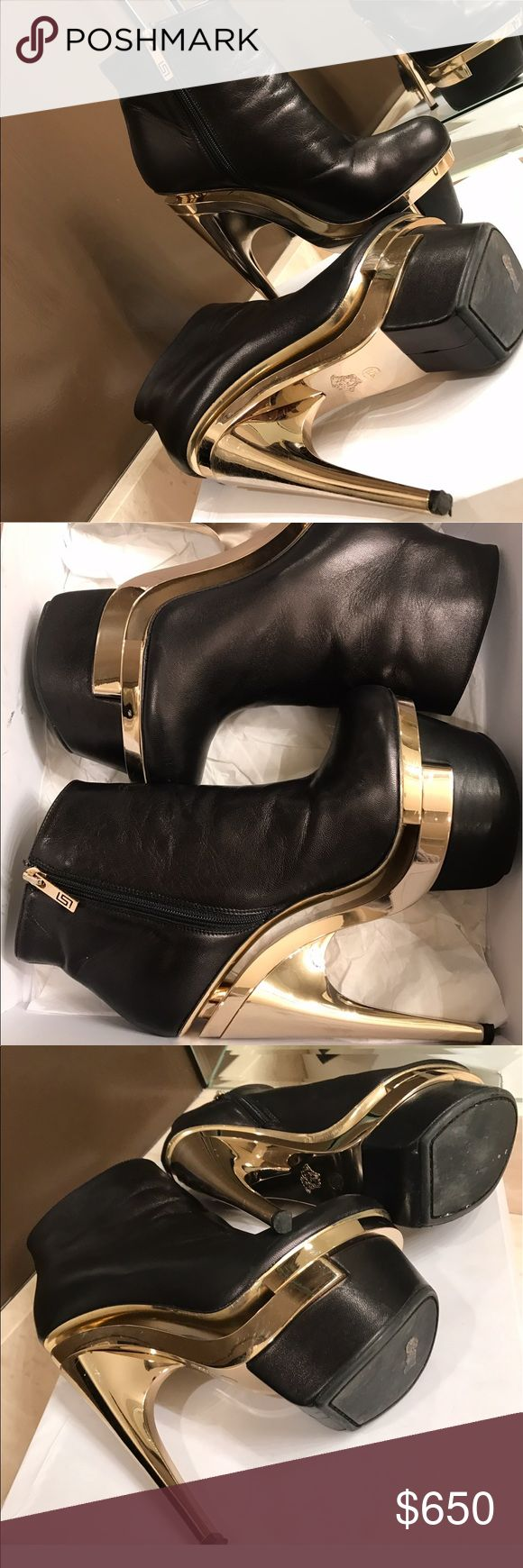 Authentic Versace Platform Booties Authentic Versace Bootie  Worn marks underneath  Worn insole - Worn leather (shown in photos)  Still in very good condition Comes with original box, dust bag  & new heel tips  Size 37/5 Versace Shoes Platforms