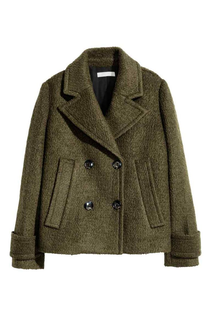 Wool-blend jacket: Short, double-breasted jacket in a wool blend with notch lapels, side pockets and a decorative tab at the cuffs. Lined.