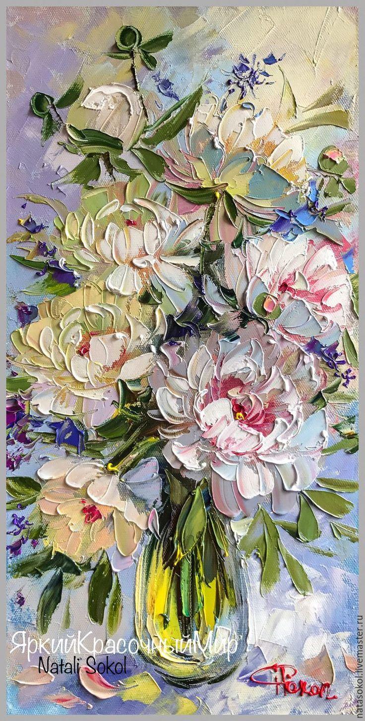 Oil painting | Купить Белые пионы в вазе – белый, пи…