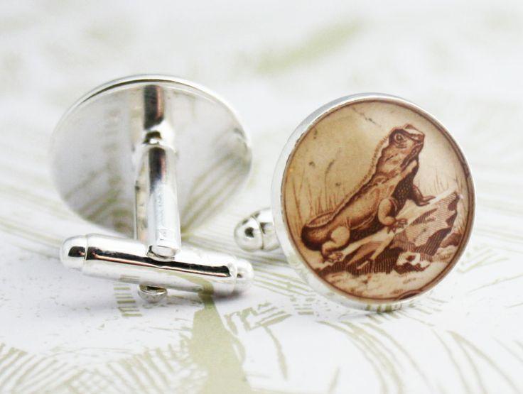 Tuatara New Zealand Stamp Cufflinks ~ FREE SHIPPING (NZ) | Felt