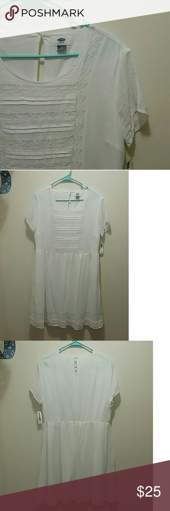 Old Navy white summer dress Light flowy dress perfect for a summer garden party. Lace detail adds a simple but feminine touch.    Never worn. I bought it for an event but I found a dress that fit me better. Falls to knee   ✅offers on items over $10 🚫off posh 🚫modeling Old Navy Dresses