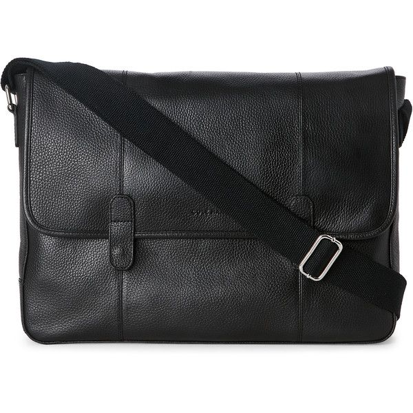 Cole Haan Leather Messenger Bag (€130) ❤ liked on Polyvore featuring bags, messenger bags, black, leather bags, cole haan, real leather bags, genuine leather bags and snap bag