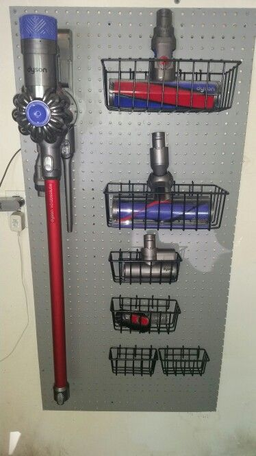Dyson vacuum storage  Spent barely $20 and created this to store all the parts to my new Dyson!