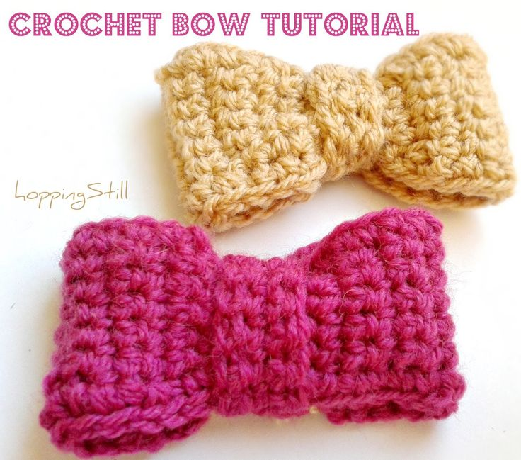 hoppingStill: Crochet Bow Tutorial   HUGE bow.  Medium size = 4 across 10 rows  Smaller = 2 across 8 rows