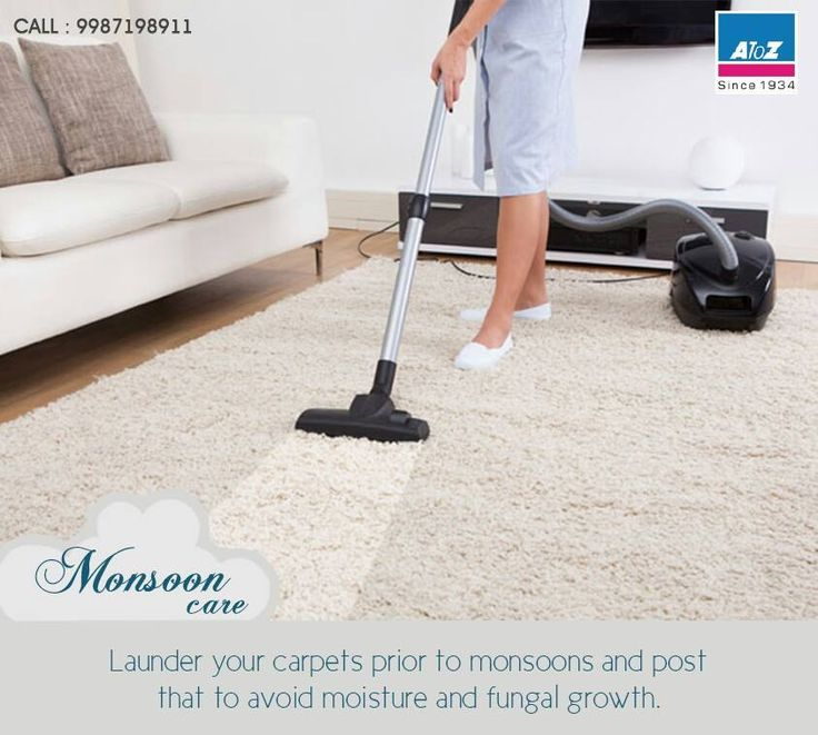Launder your carpets prior to monsoons and post that to avoid moisture and fungal growth. #atoz #monsooncare #carpets