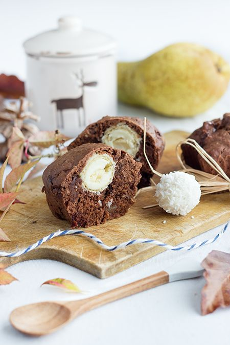 chocOlate muffins with pear & raffaello core