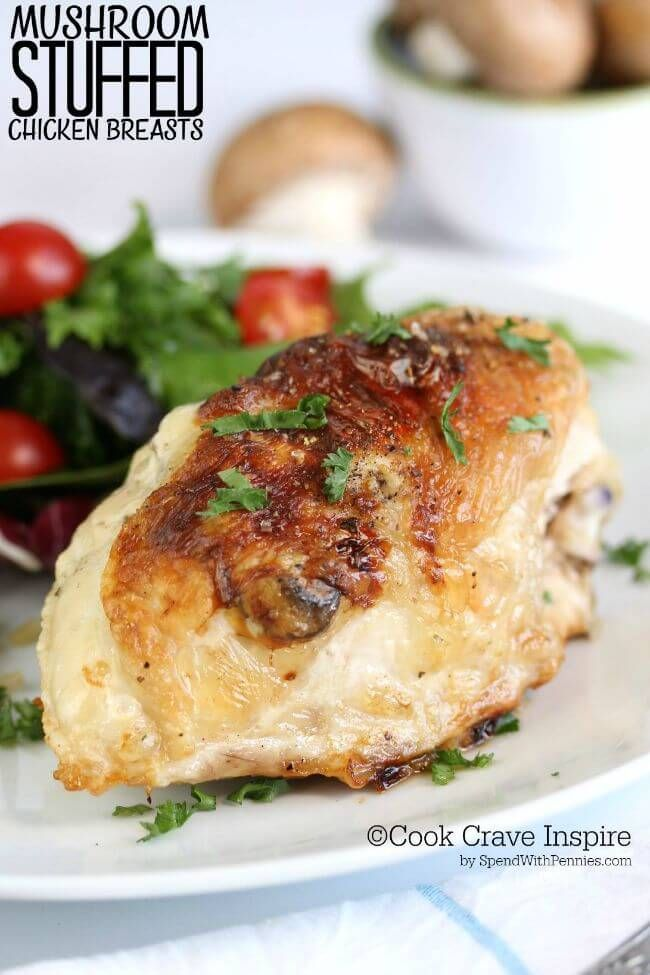 This is the perfect dish, easy to make & incredibly GOOD! Bone in chicken breasts stuffed with a mushroom & mozzarella filling baked until perfectly juicy!
