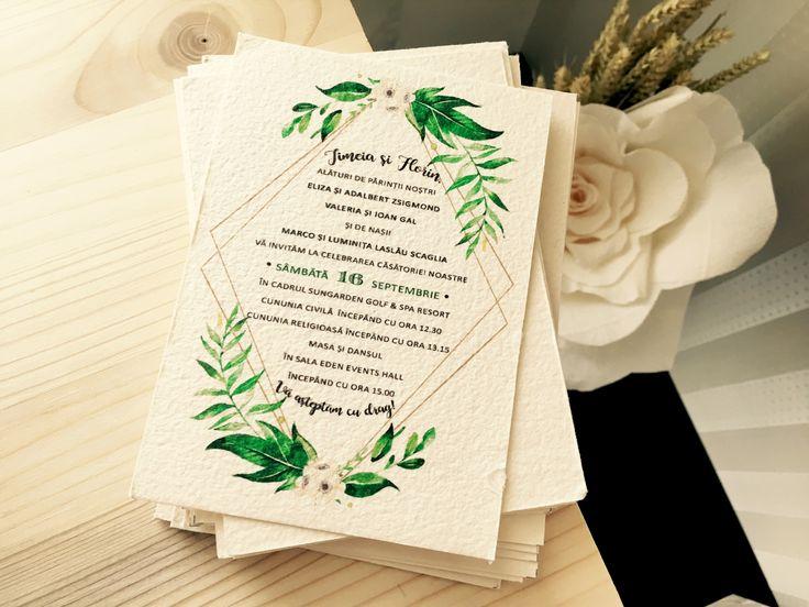 invitatii de nunta greenery