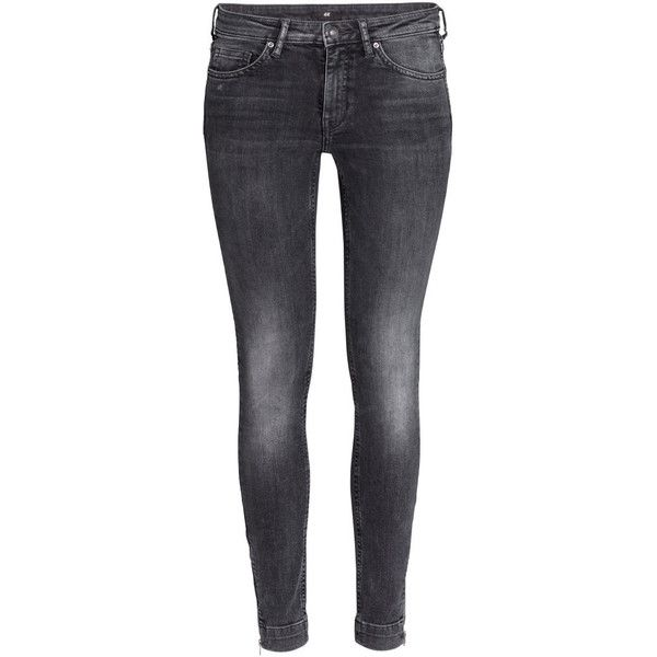 H&M Ankle jeans ($38) ❤ liked on Polyvore featuring jeans, pants, bottoms, calça, dark grey, dark grey jeans, zipper jeans, h&m, low rise jeans e ankle length jeans