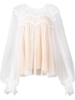 Semi-transparente Bluse mit gewelltem Muster