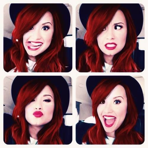 funny, red hair, make up, kiss, smile, demi lovato, eyes, happy, stay strong, hairstyle, beautiful
