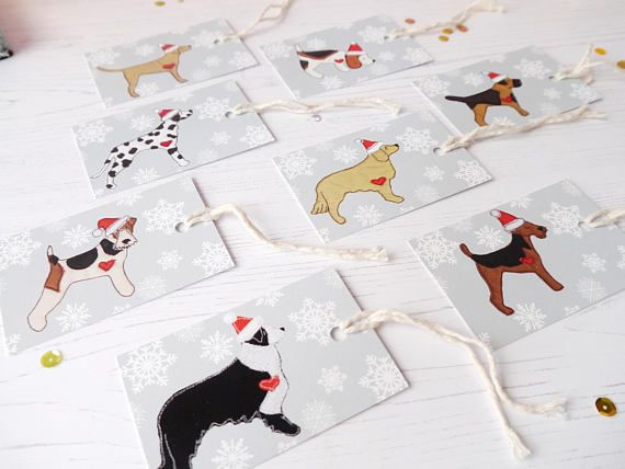 Dog Christmas Gift Tags  Border Terrier  Welsh Terrier  Fox