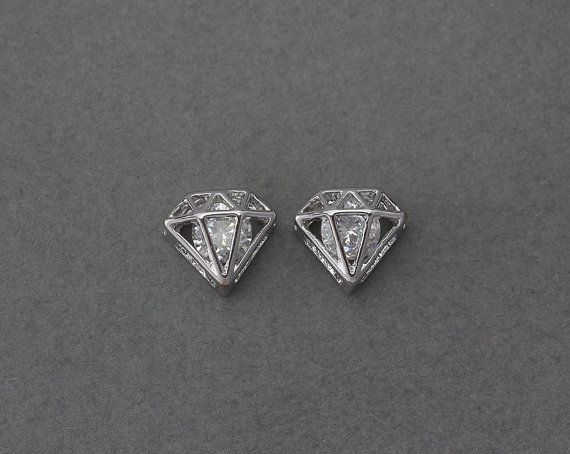 [CAT]  Diamond Brass Pendant . Wedding Jewelry Bridal by IndiviJewelsCo