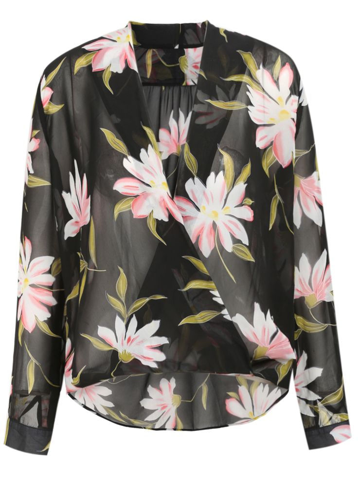 Black Long Sleeve Flowers Print Wrap Front Blouse 29.98