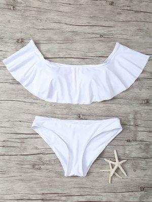 Ruffles Off Bikini Swimwear Ombro - Branco