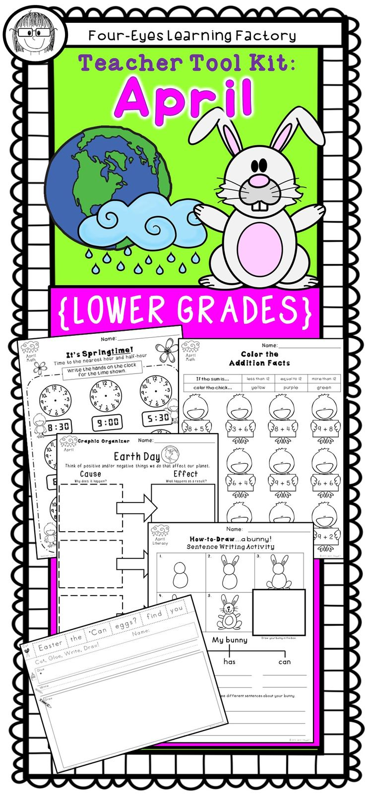 Tons of fun teacher tools for the whole month of April!  Celebrate Spring, Easter and Earth Day (plus some of the lesser known holidays in April) with these fun and educational activities for literacy, math… and more! This Teacher Tool Kit is a perfect addition to your collection of holiday resources. Created with Common Core in mind, each math and literacy tool is designed to reinforce fundamental skills in the lower grades.