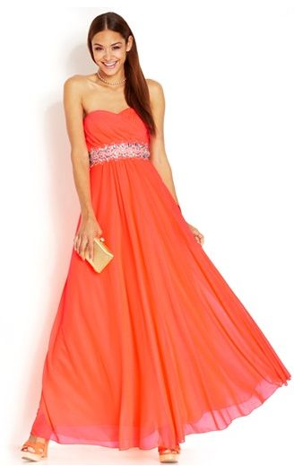 Sequin Hearts Juniors' Strapless Rhinestone-Trim Gown from Macy's. #prom #maxidress