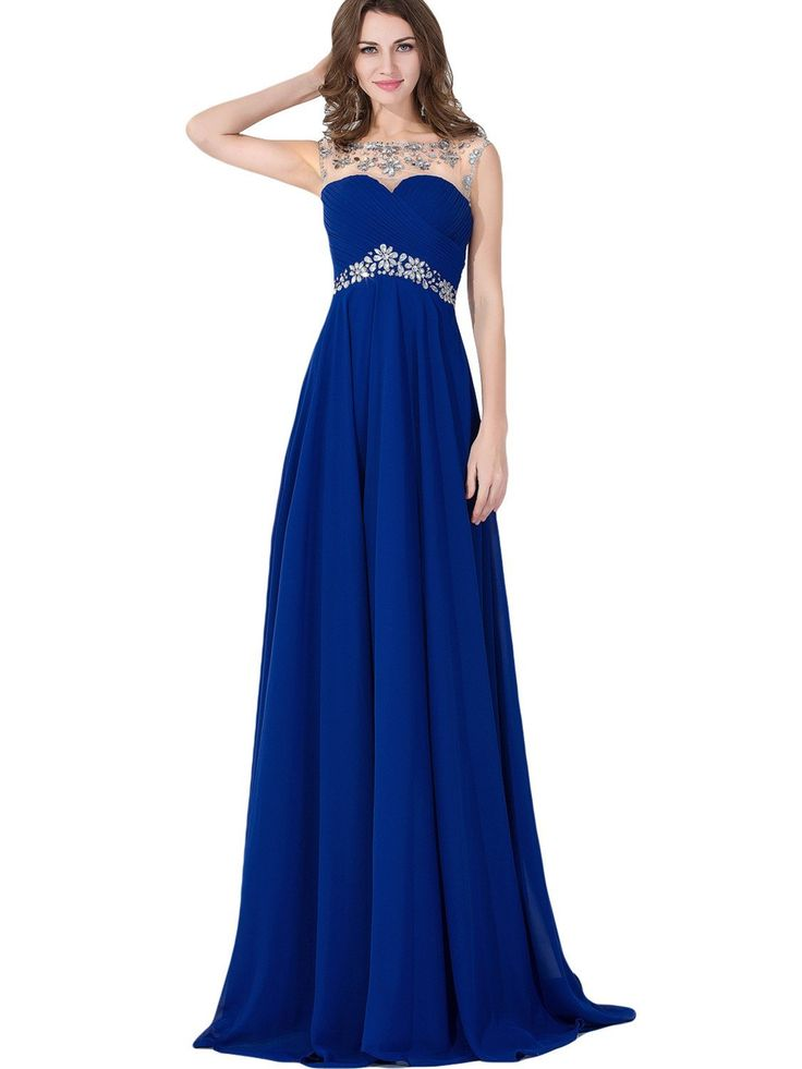 Amazon.com: Babyonline Sexy Backless Beaded Chiffon Long Evening Gown 2016 Prom Dress: Clothing