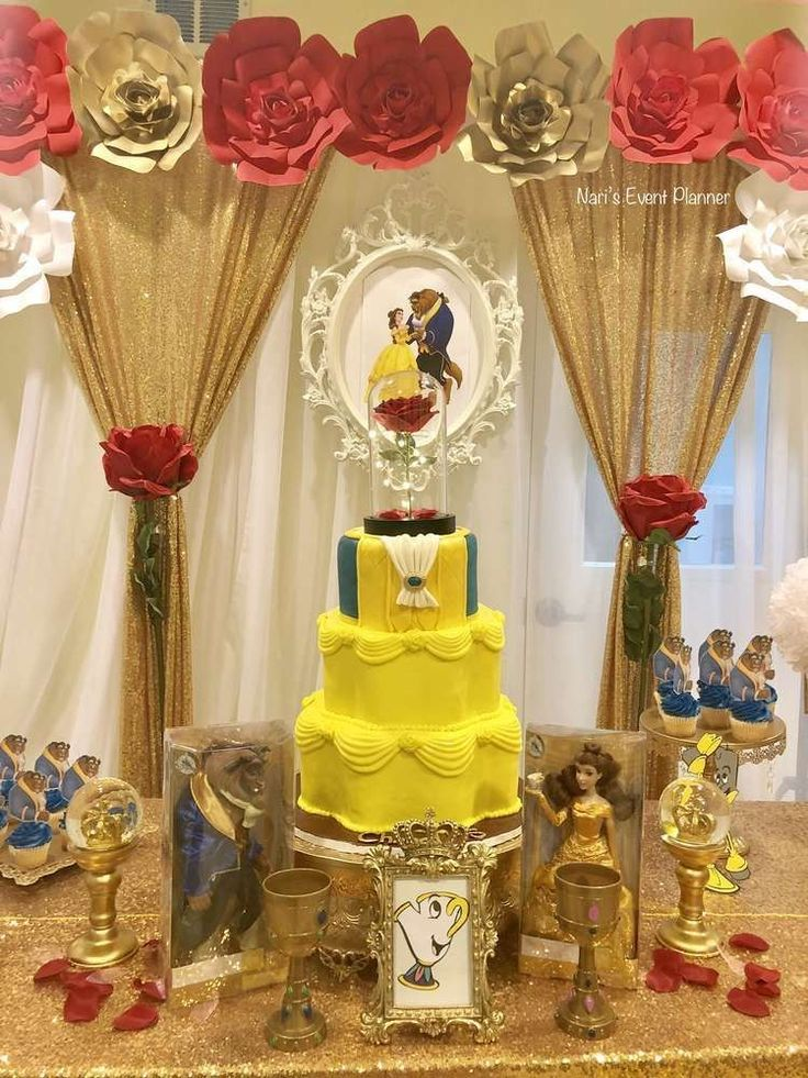 The birthday cake at this Beauty and the Beast Birthday Party is stunning! See more party ideas and share yours at CatchMyParty.com #catchmyparty #beautyandthebeastparty #cake #princessparty