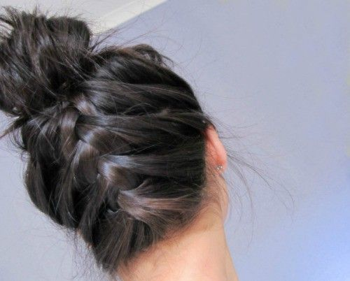 Upside down french braid with a bun...different way to put your hair up!