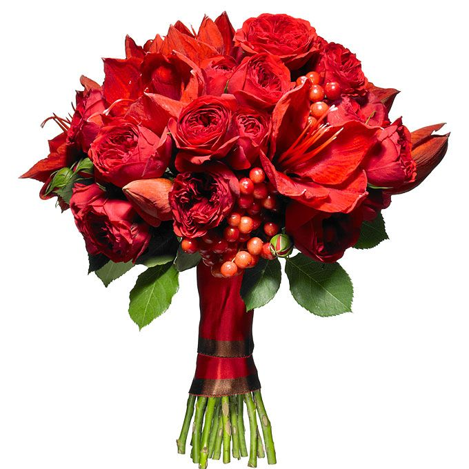 red bouquet for a winter wedding featuring spray roses, amaryllises, and viburnum berries