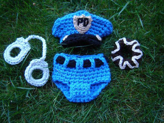 Police Officer Set Crochet Baby Boy Hat Diaper Cover